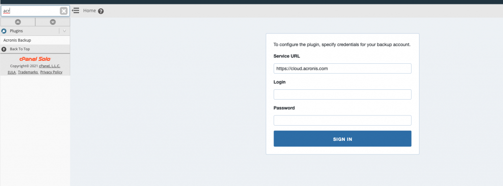 Install Acronis Backup Plugin in cPanel