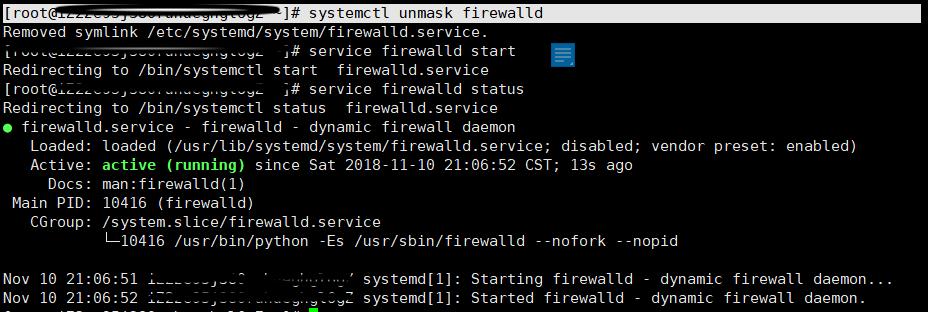 Error: Failed to start firewalld.service: unit is masked